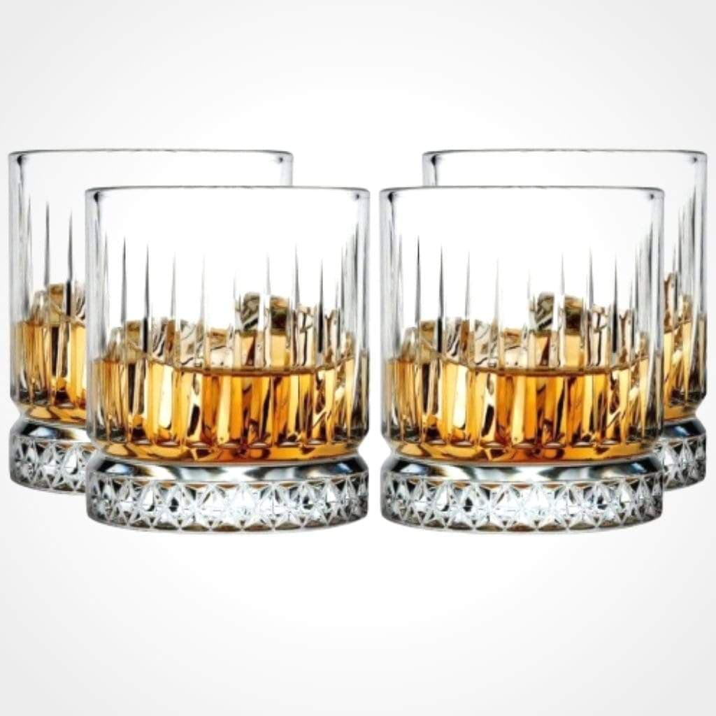 Pasabahce Elysia Whisky Tumbler Crystal Scotch Glasses 355 ml - 4 pack