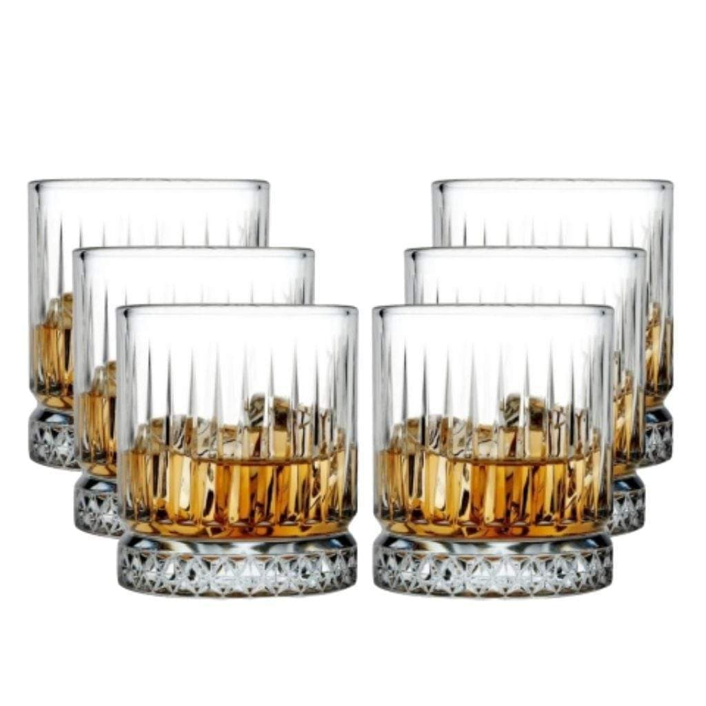 Pasabahce Elysia Whisky Tumbler Crystal Scotch Glasses 355 ml - 6 pack