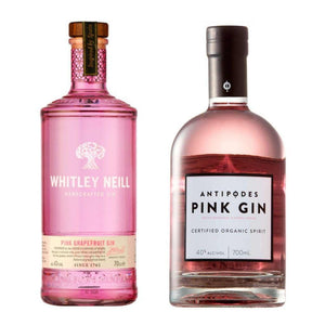 Antipodes Organic PINK Gin 40% Plus Whitley Neill Pink Grapefruit  Gin 43% 700ml -  Premium Twin Pack Pink Gins