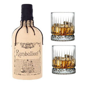 Rumbullion Rum 42.6% 700ml Includes 2x Pasabahce Crystal Glassware 355 ml