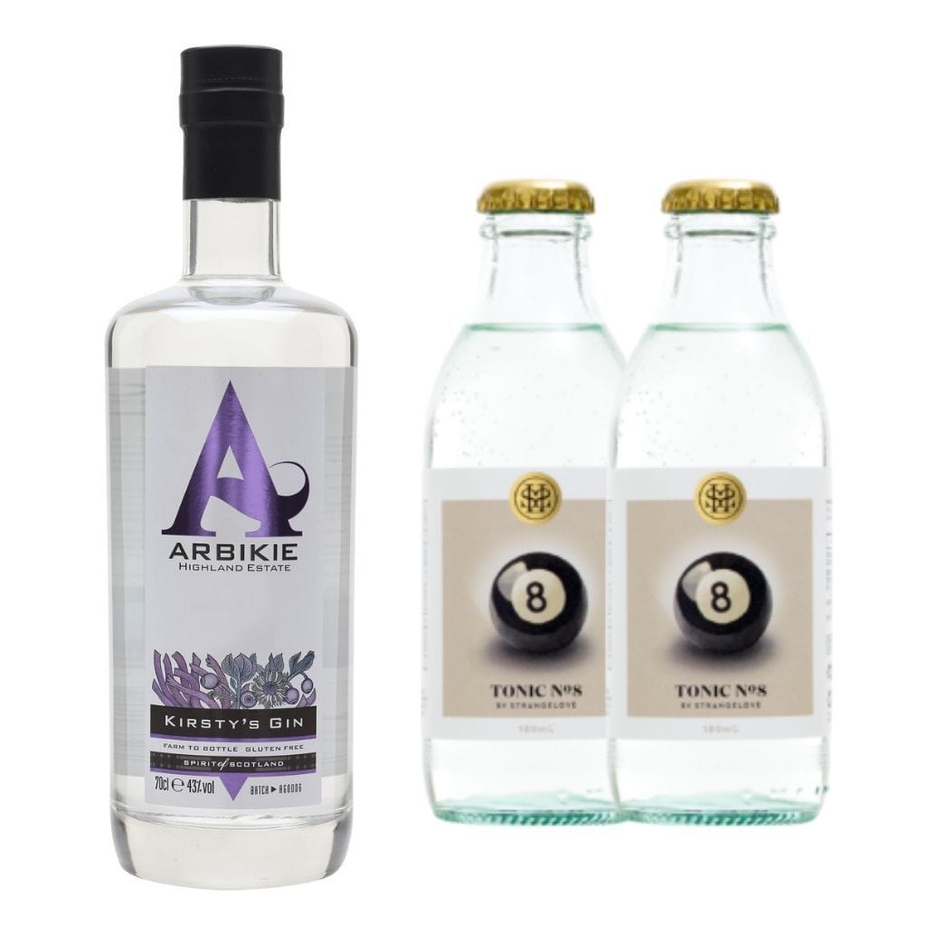 Arbikie Kirsty's Gin 40% 700ml Plus 2x StrangeLove Tonic 180ml – Premium Gin & Tonic Pack