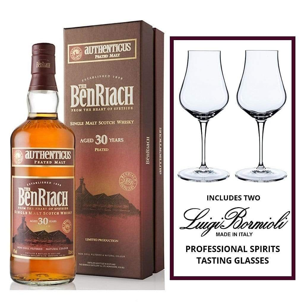 Benriach 30YO Authenticus 46% 700ml INCLUDES Luigi Bormioli Vinoteque Spirits Tasting Glass 170ml Box of two