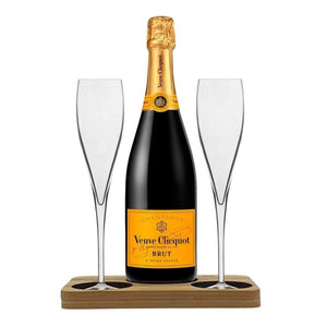 Veuve Clicquot Presentation Stand Includes 2 Fine Crystal Champagne Glass