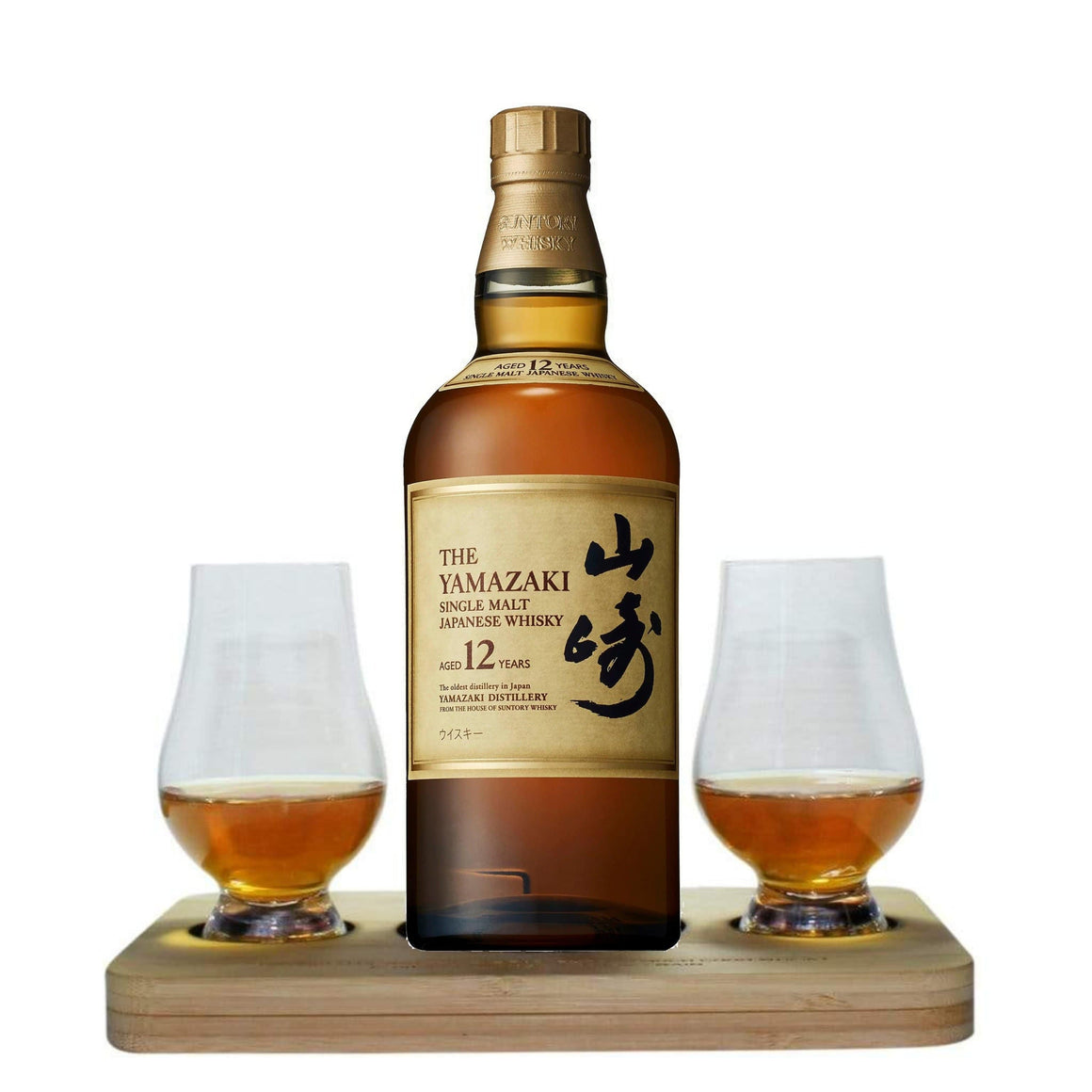 The Yamazaki 12 YO Single Malt Whisky Tasting Gift Set includes Wooden Presentation Stand plus 2 Original Glencairn Whisky Glass