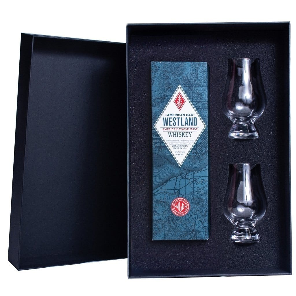 Westland American Oak Gift Box includes 2 Glencairn Glasses