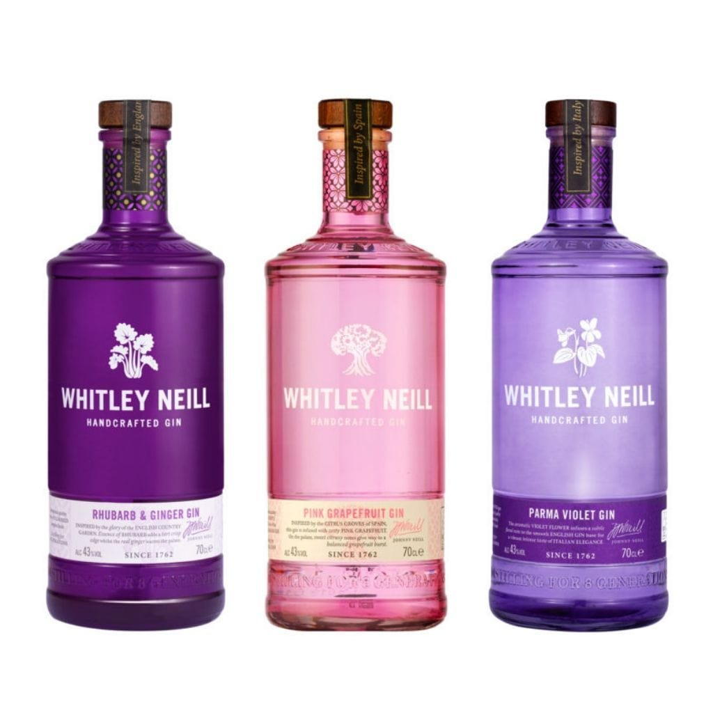 Whitley Neill Rhubarb and Ginger, Pink Grapefruit & Parma Violet Gins 700ml