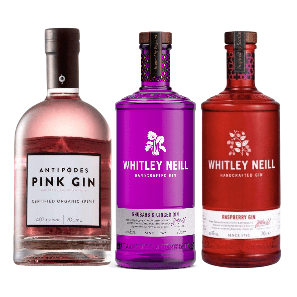 Whitley Neill Rhubarb and Ginger, Raspberry Gins & Antipodes Organic Pink Gin 700ml