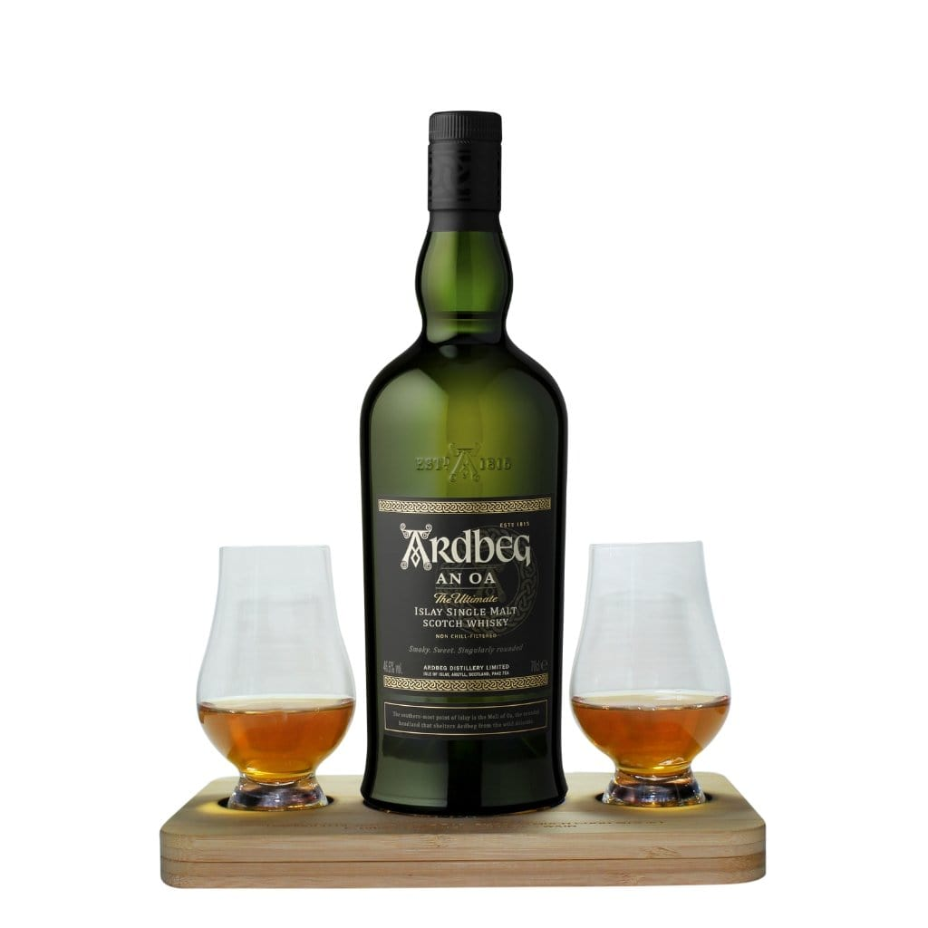 Ardbeg An Oa Whisky Tasting Gift Set includes Wooden Presentation Stand plus 2 Original Glencairn Whisky Glass