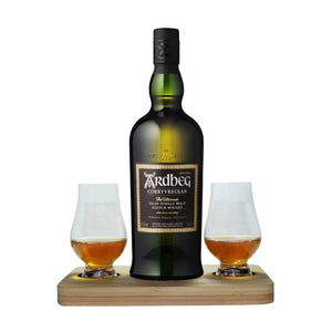 Ardbeg Corryvreckan Islay Single Malt Whisky includes Wooden Presentation Stand plus 2 Original Glencairn Whisky Glass