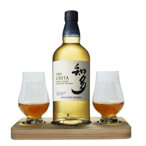 The Chita Single Grain Whisky Tasting Gift Set includes Wooden Presentation Stand plus 2 Original Glencairn Whisky Glass