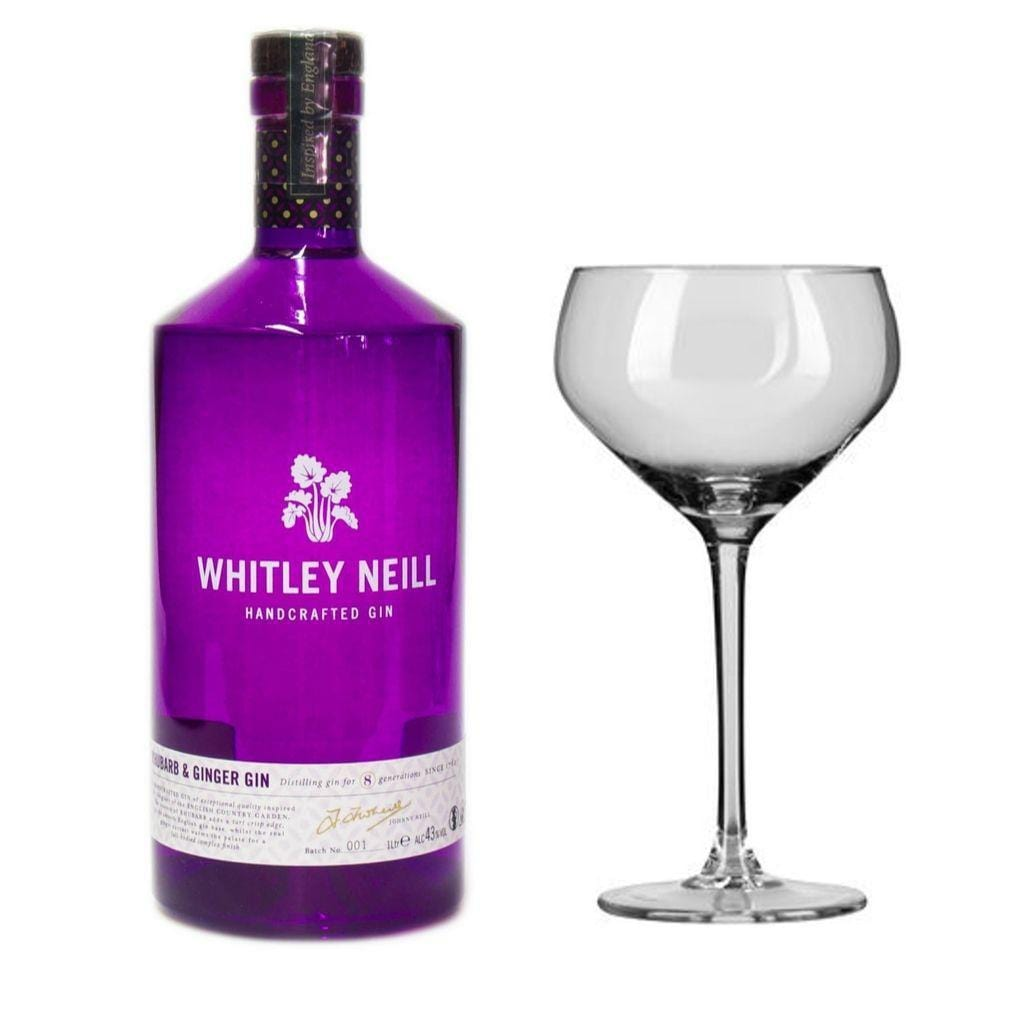 Whitley Neill Ginger and Rhubarb Gin 43% 700ml With 1x l'Esprit du Vin Coupe Cocktail Glassware 300ml