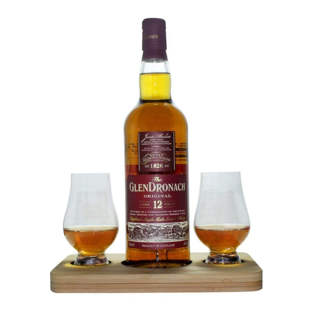 Glendronach The Orginal Whisky Tasting Gift Set includes Wooden Presentation Stand plus 2 Original Glencairn Whisky Glass
