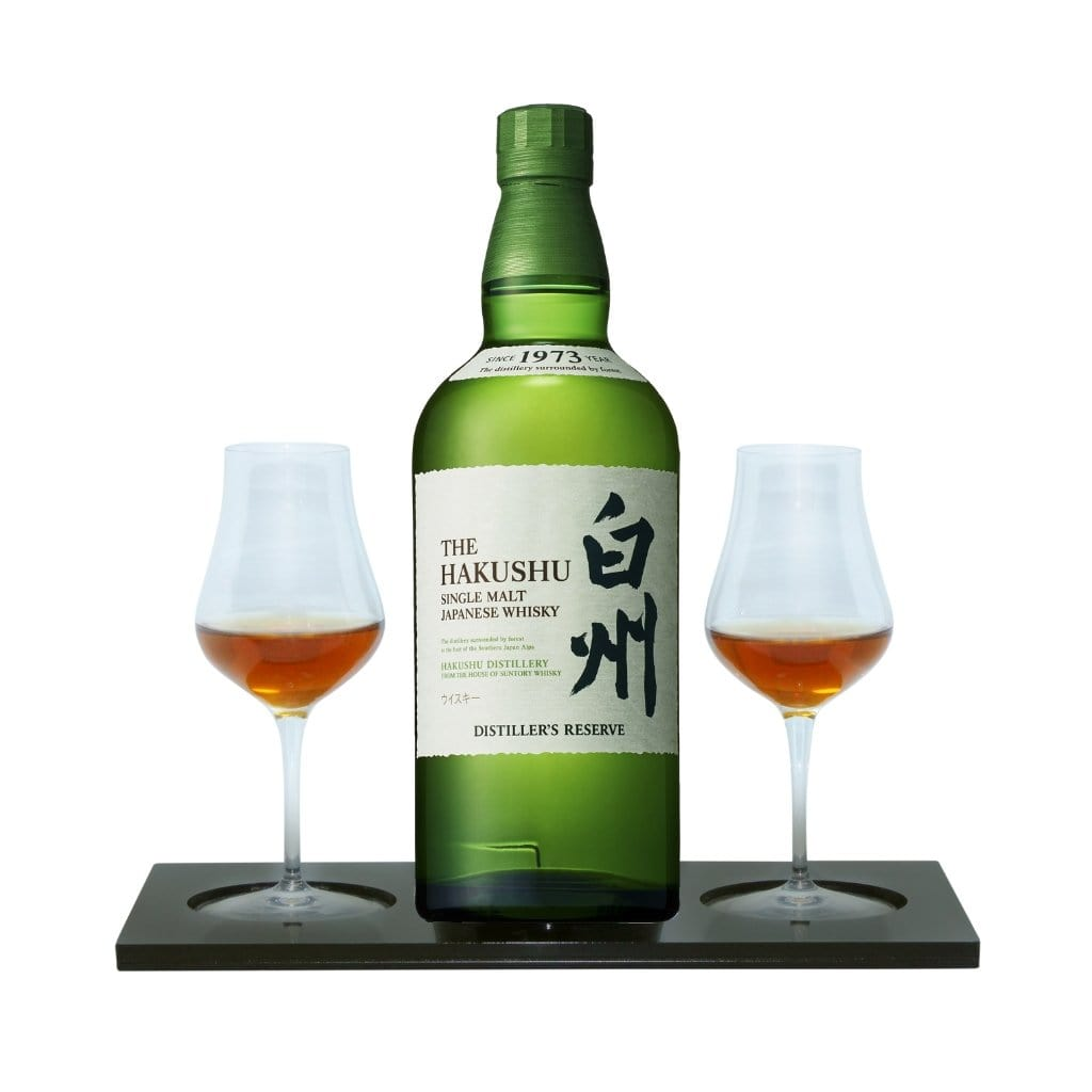 The Hakushu Distiller's Reserve Whisky Tasting Gift Set includes Black Acrylic Presentation Stand plus 2 Luigi Bormioli Spirits Tasting Glass