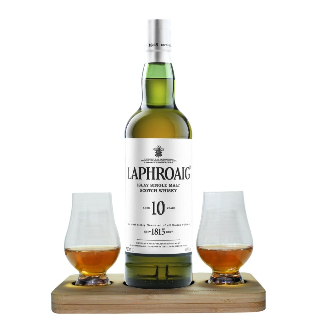Laphroaig 10 Year Old Whisky Tasting Gift Set includes Wooden Presentation Stand plus 2 Original Glencairn Whisky Glass