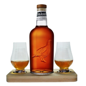 The Naked Grouse Blended Malt Scotch Whisky Tasting Gift Set includes Wooden Presentation Stand plus 2 Original Glencairn Whisky Glass