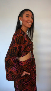 Limited Edition Batik Bell Sleeve Wrap Top