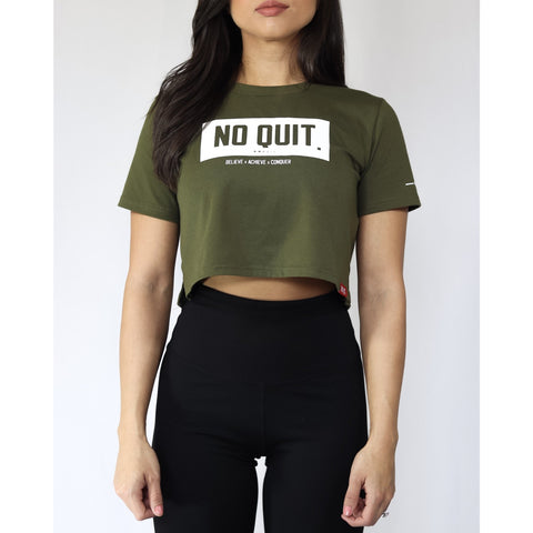 ESSENTIAL CROP T-SHIRT-MILITA GREEN - noquitsociety