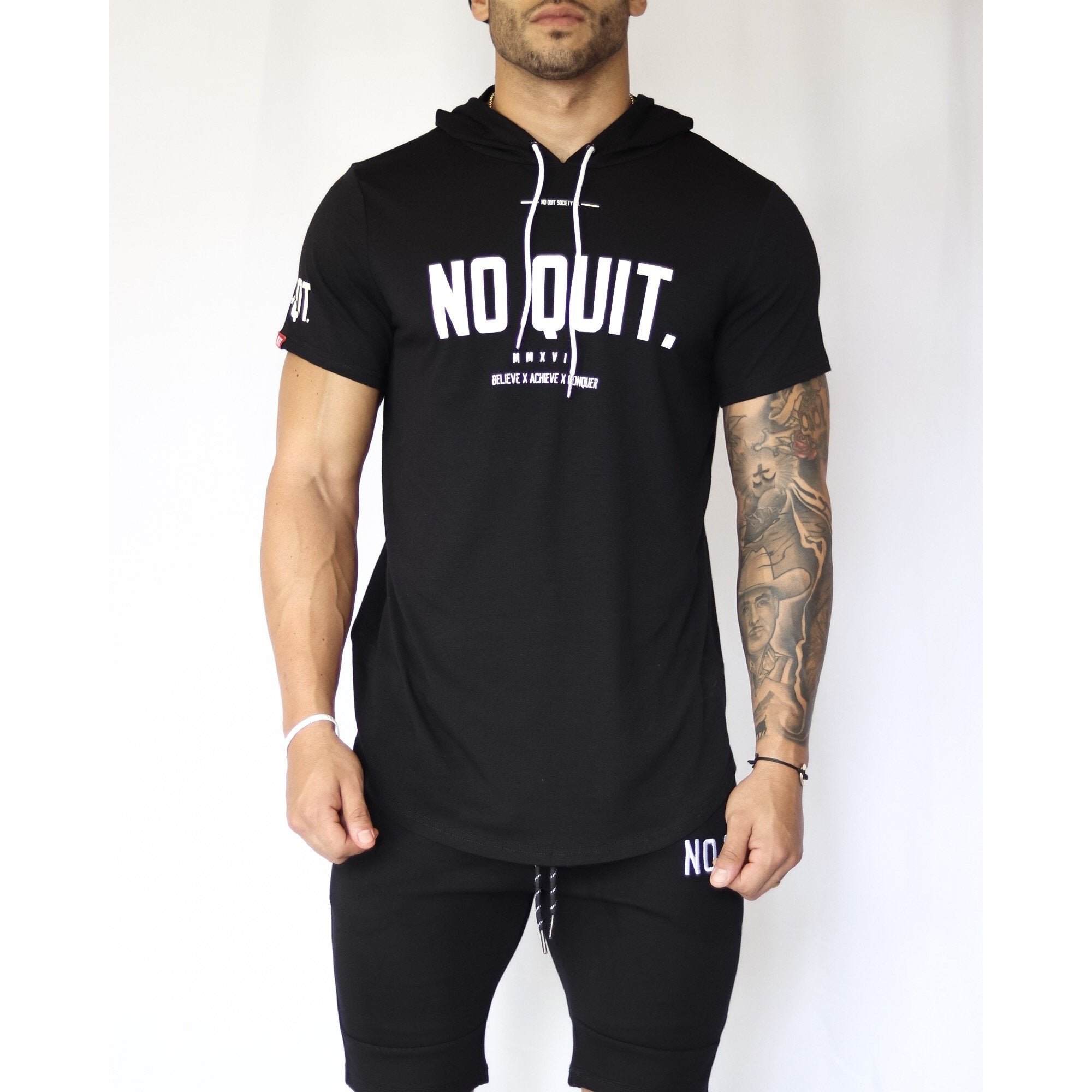MELO SHORT SLEEVE HOODIE - BLACK - noquitsociety