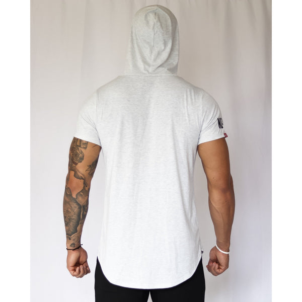MELO SHORT SLEEVE HOODIE -HEATHER GREY - noquitsociety
