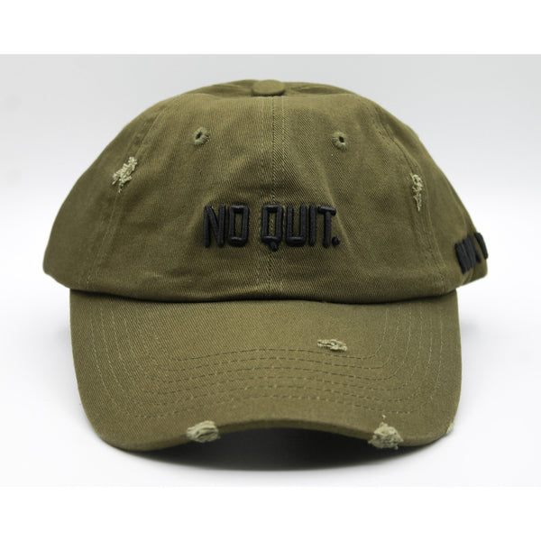 DISTRESSED DAD HAT -OLIVE GREEN