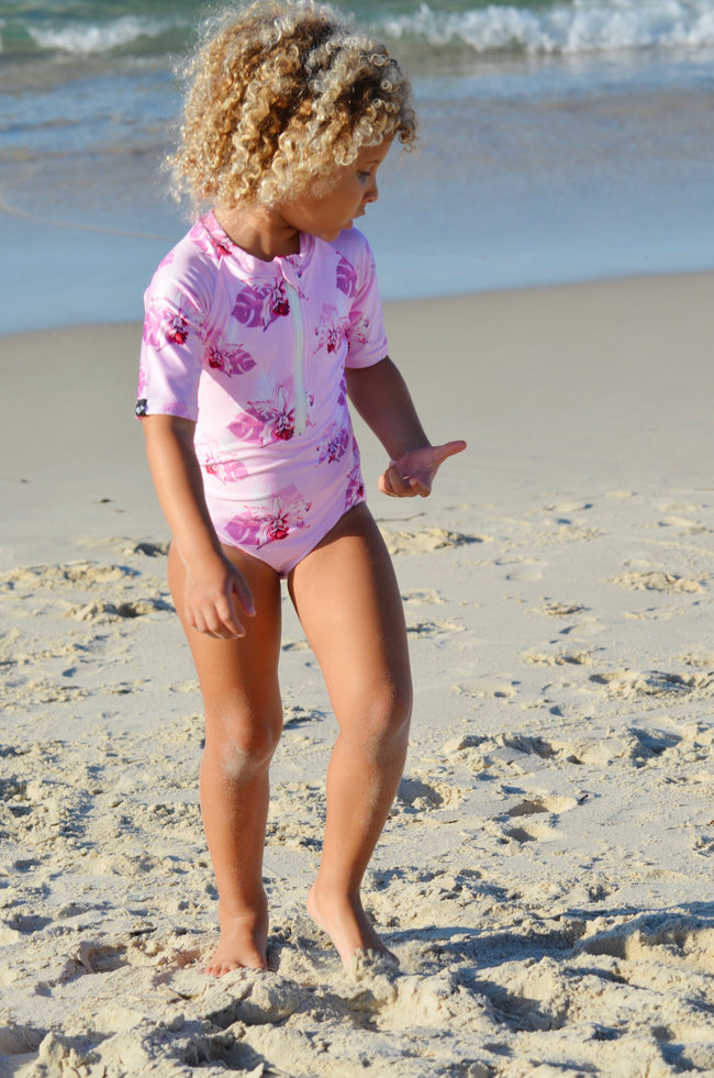 beachwear for children, uv protection swimwear, zip up swimwear, cute swimwear, pretty swimwear, floral swimsuit