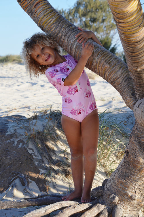 girls short sleeve swimsuit, sun protection swimwear, pink swimsuit, floral swimsuit, toddler swimwear, toddler swimsuit