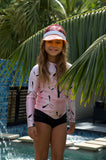 flamingo swimwear, flamingo swimsuit, flamingo bathers, children's flamingo swimsuit, pink flamingo swimwear