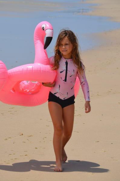 pink swimmers, pink swimsuit, flamingo swimwear, flamingo children's swimsuit, pink flamingo swimwear