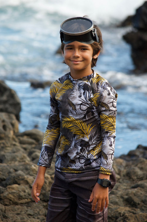 panther rash shirt, boys rashie, boys long sleeve top