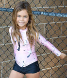 uv protection swimwear, kids swimsuit, pink swimwear, children sunsuit, girls swimwear, girls flamingo swimwear
