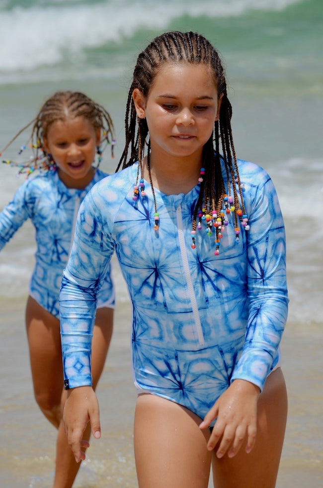 matching swimwear, swimwear for girls, tween swimwear, swimsuits, blue swimsuits