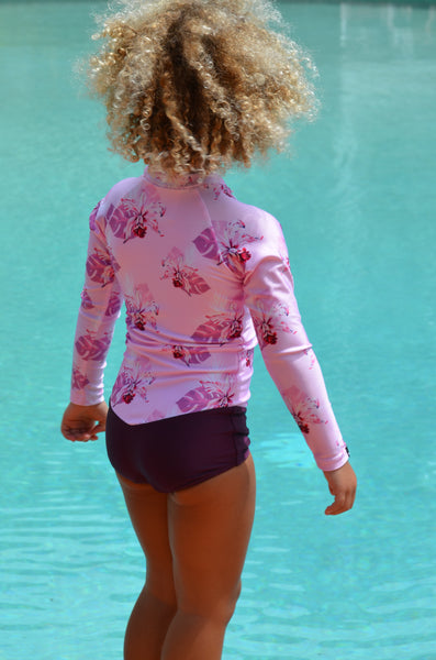toddler long sleeve swimsuit, swimwear for girls, swimsuit for kids, uv protection swimwear for kids, pink swimsuit