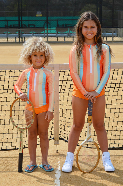 retro swimsuit, children's swimwear, swimsuit, striped swimwear