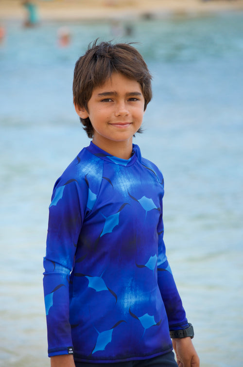boys surf top, boys beachwear, kids swimwear, swim rash vest, UPF50+
