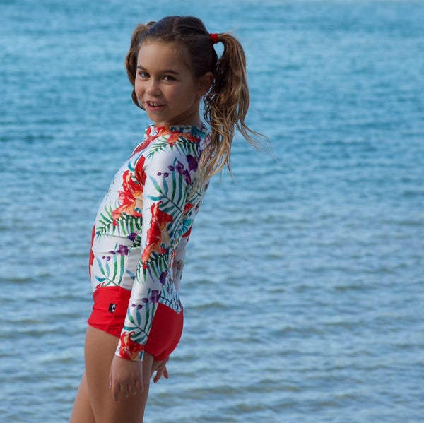 red swimsuit, red swimwear, uv protective swimsuit, children's uv sunsuit, kids swim