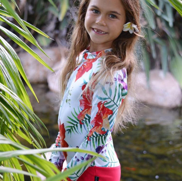 tropical swimwear, tropical swimsuit, kids tropical swimwear, children's tropical swimsuit, children's swimsuit, floral swimwear, hawaiian print swimsuit, flower print swimwear