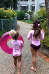 matching swimwear for girls, matching swimwear, long sleeve swimwear, bright swimwear for kids