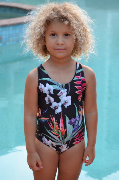 girls swimsuit, black tropical swimsuit, onepiece swimsuit for kids, children's swimwear, modern swimwear for girls, 2019 swimsuits, reversible swimwear.