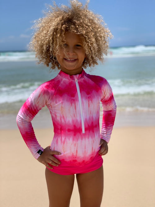 tie dye swimsuit, swimsuit, pink swimsuit, tie dye fashion, long sleeve swimsuits for kids, girls long sleeve swimsuits, swimwear for girls, sun protective swimwear, pink swimsuit, pink surfsuit,