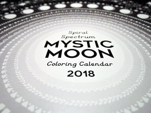 Mystic Moon 2018 Nature Based , Astrology, Astronomy, Esoteric, Zodiac, Chart, Coloring Calendar