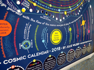 Cosmic Calendar 2018 Nature Based , Astrology, Astronomy, Esoteric, Zodiac, Chart
