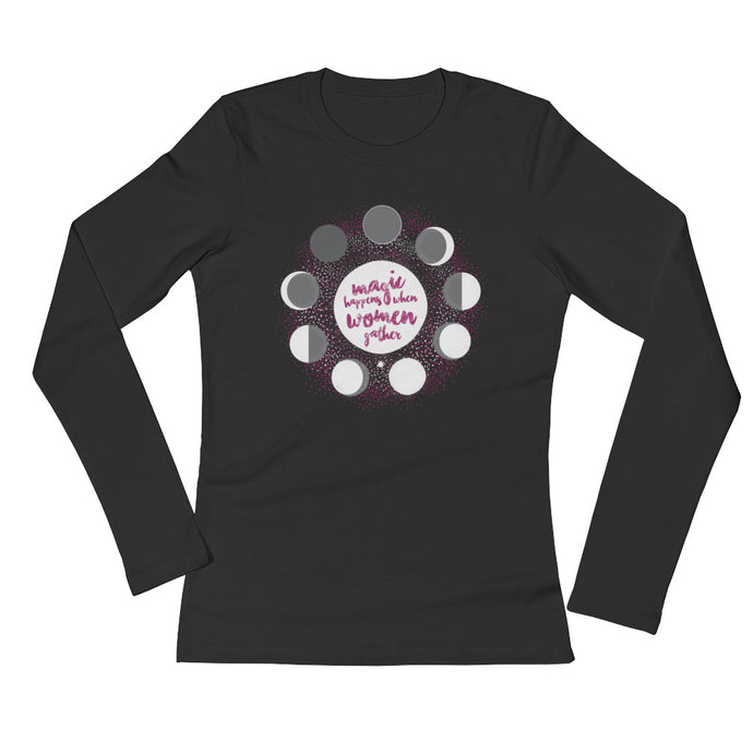 Moon Phase, Red Tent, Goddess, Sacred: Long Sleeve Women's T-Shirt Black & Red