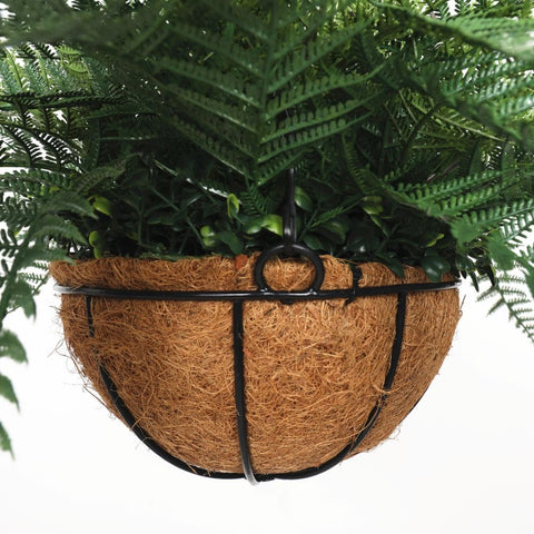 Artificial Potted Fern Hanging Basket (Fresh Green) UV Resistant 55cm