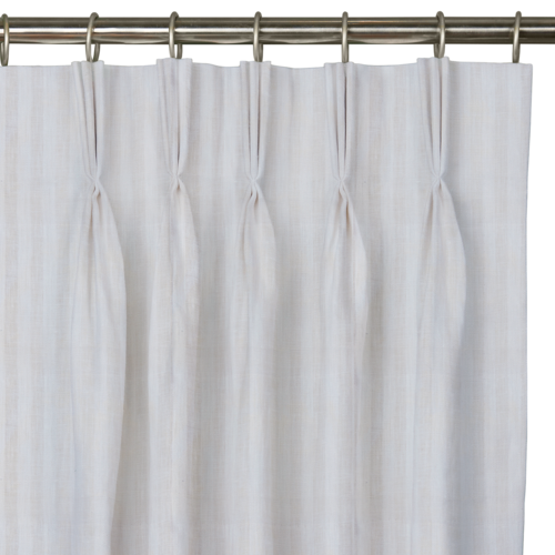 "Custom Drape - Triple pinch - Striped Oyster - 100 "" width x 132 "" height"