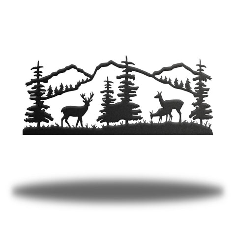 Deer and Mountain Scene