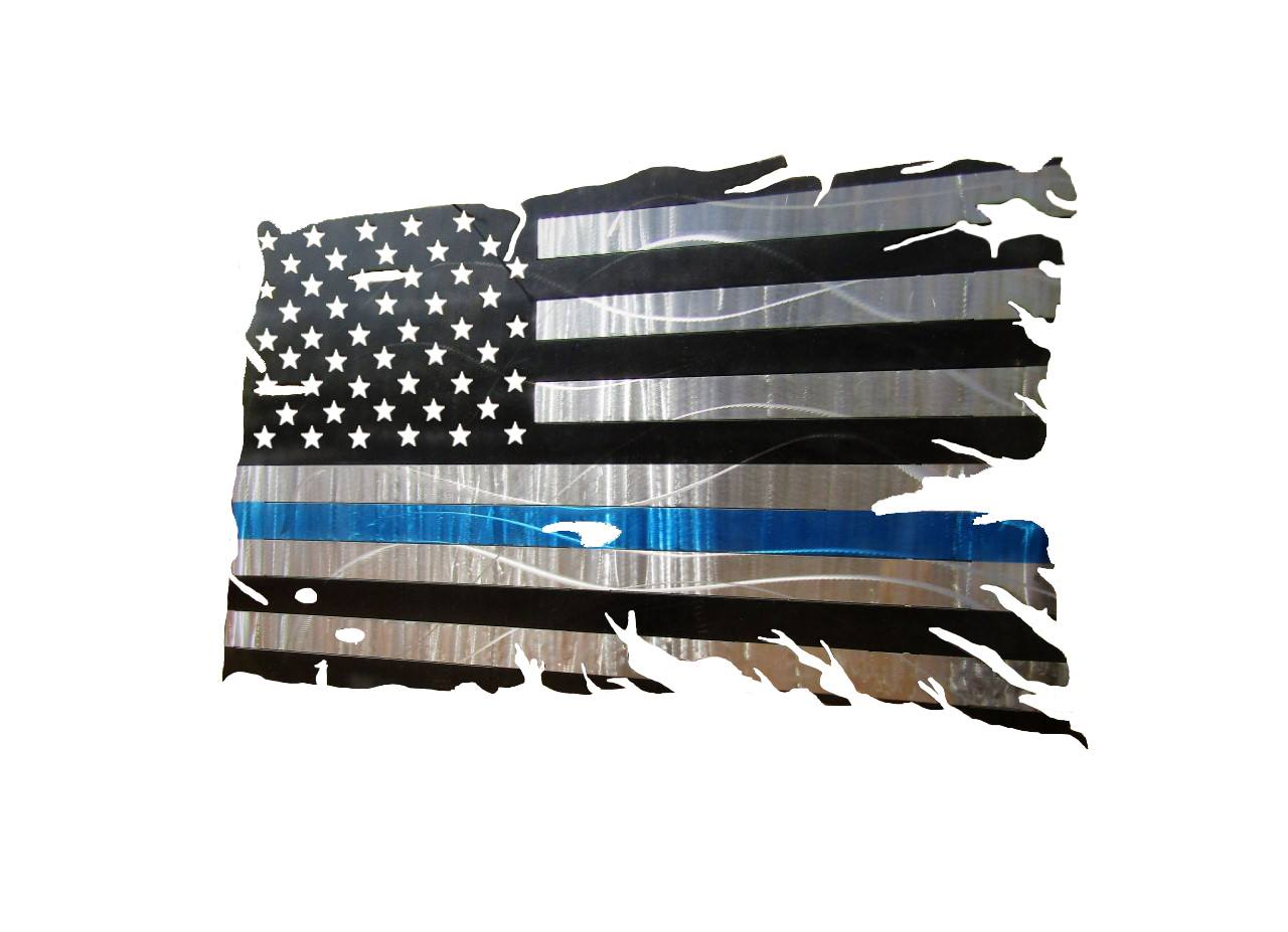 Thin Blue Line Tattered American Flag
