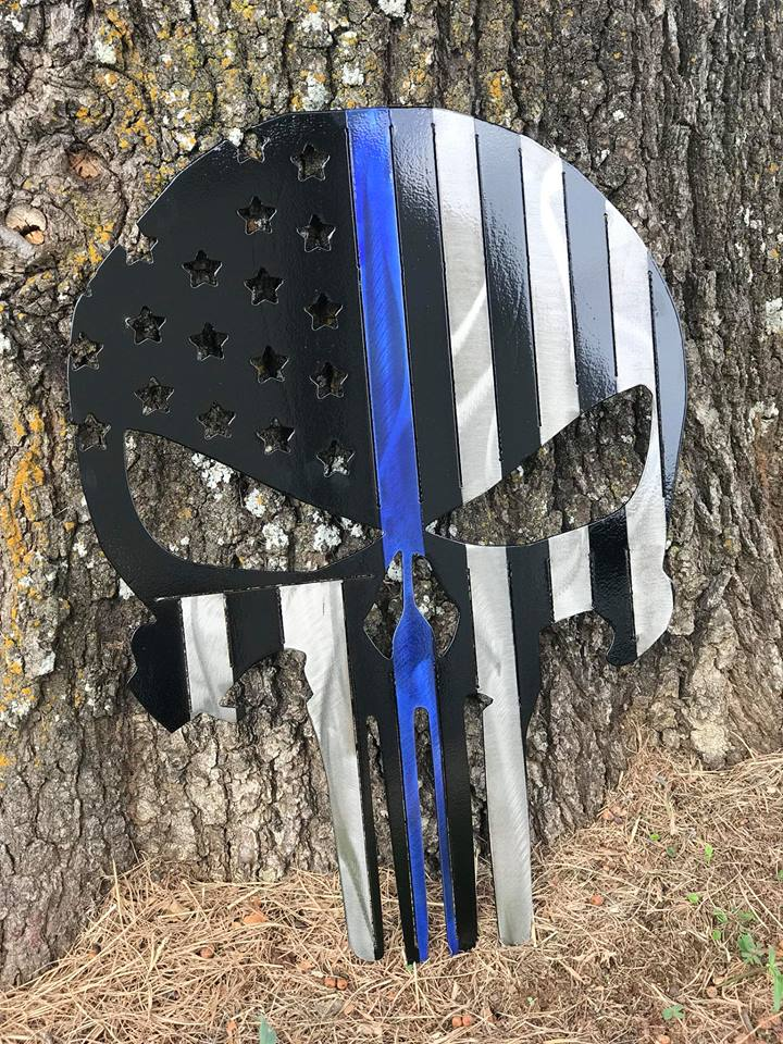 Thin Blue Line Punisher Skull Flag