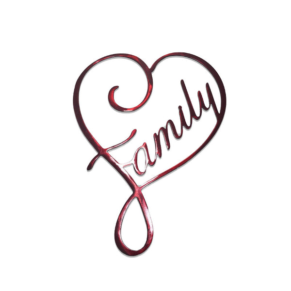 family metal sign with heart family love art