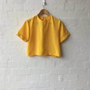 Bright Yellow Crop Short Sleeve Top