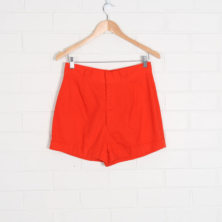 70s USA Made Bright Red High Waist Shorts - Vintage Sole Melbourne